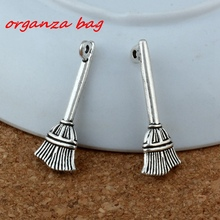 Broom Halloween Witch Pendant 150Pcs/lot Hot sell Antique Silver alloy Jewelry DIY 10 * 28mm 1.2g  A-198