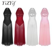 YiZYiF Sequined Mesh Maxi Ballet Dress Women Dance Costumes Adult Sleeveless Halter Ballet Dance Dress with Built in Leotard