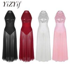 Image 1 - YiZYiF cekinowa siatka Maxi sukienka baletowa kobiety kostiumy do tańca dla dorosłych bez rękawów Halter taniec baletowy sukienka z wbudowanym trykotem