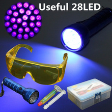 28 LED Flashlight Fluorescent Refrigerant Leak Detection UV Light + Safety Glasses for Car/Home Air Conditioner Leakage Tracer