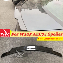 Fits For Mercedes Benz W205 Tail Spoiler Wing Carbon fiber C74 Style 4-doors C180 C200 C250 Rear trunk spoiler 2015-18