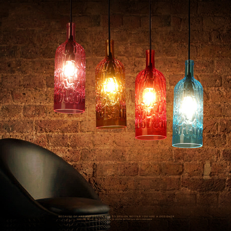 Creative Colorful Glass Bottle Bar Pendant Lights Romantic Coffee Shop Dining Room Pendant Lamp Loft Bedroom Suspension Light  Creative Colorful Glass Bottle Bar Pendant Lights Romantic Coffee Shop Dining Room Pendant Lamp Loft Bedroom Suspension Light