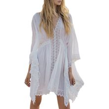 Womens Summer Long Batwing Sleeves Bikini Cover Up Bohemian Crochet Floral Lace Patchwork Blouse Dress Deep V-Neck Ruched Elasti