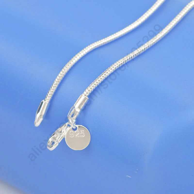 Jeden kawałek detaliczna darmowa wysyłka 16-24 Cal 925 Sterling srebrny, gładki naszyjnik z wężem choker łańcuszek biżuteria dla mężczyzny kobieta