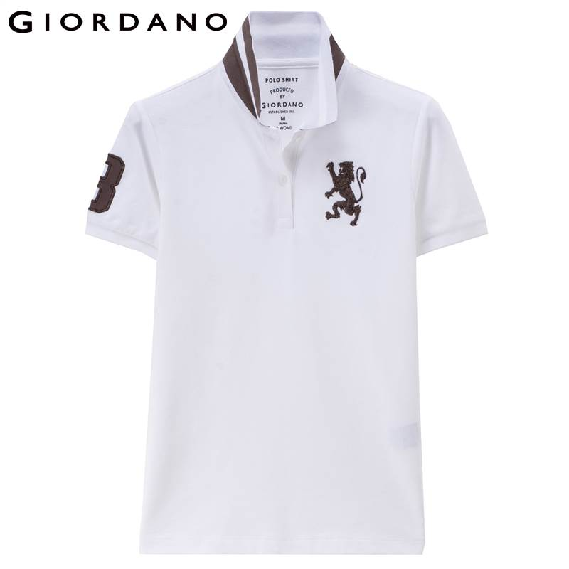 Giordano Women Polo Shirt Lion 3d Embroidery Short Sleeves Polo Flat