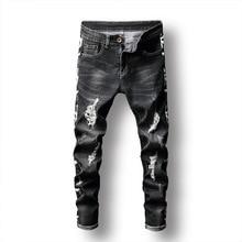 Fashion jeans men hole black elastic trousers print dark slim feet men's trousers ripped jeans for men plus size modish solid color hole design narrow feet jeans for men