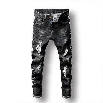 Fashion jeans men hole black elastic trousers print dark slim feet men's trousers ripped jeans for men plus size