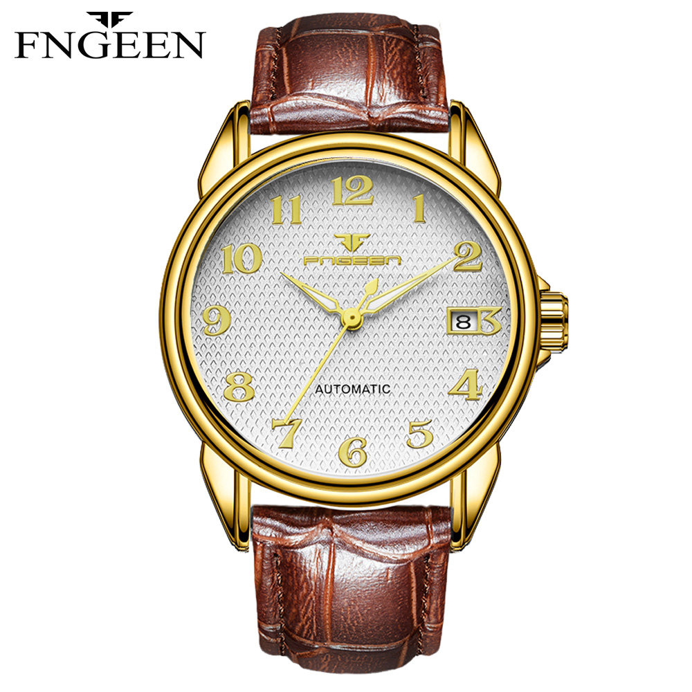 FNGEEN Brand Men Watches Automatic Mechanical Watch Sport Clock Leather Casual Business Retro Wristwatch Relojes Hombre