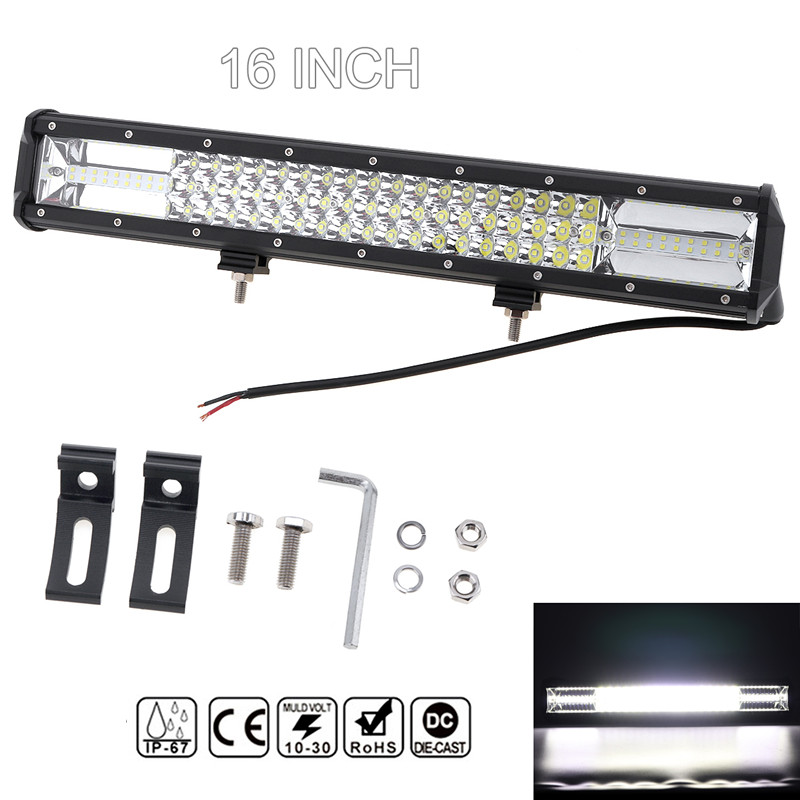7D 16'' Waterproof 360W Car LED Work Light Bar Triple Row Spot Flood Combo Offroad Light Driving Lamp for Truck SUV 4X4 4WD ATV spotlight flood lamp combo tri row 7d led work light bar driving fog offroad led car lights ip68 108w for suv atv truck