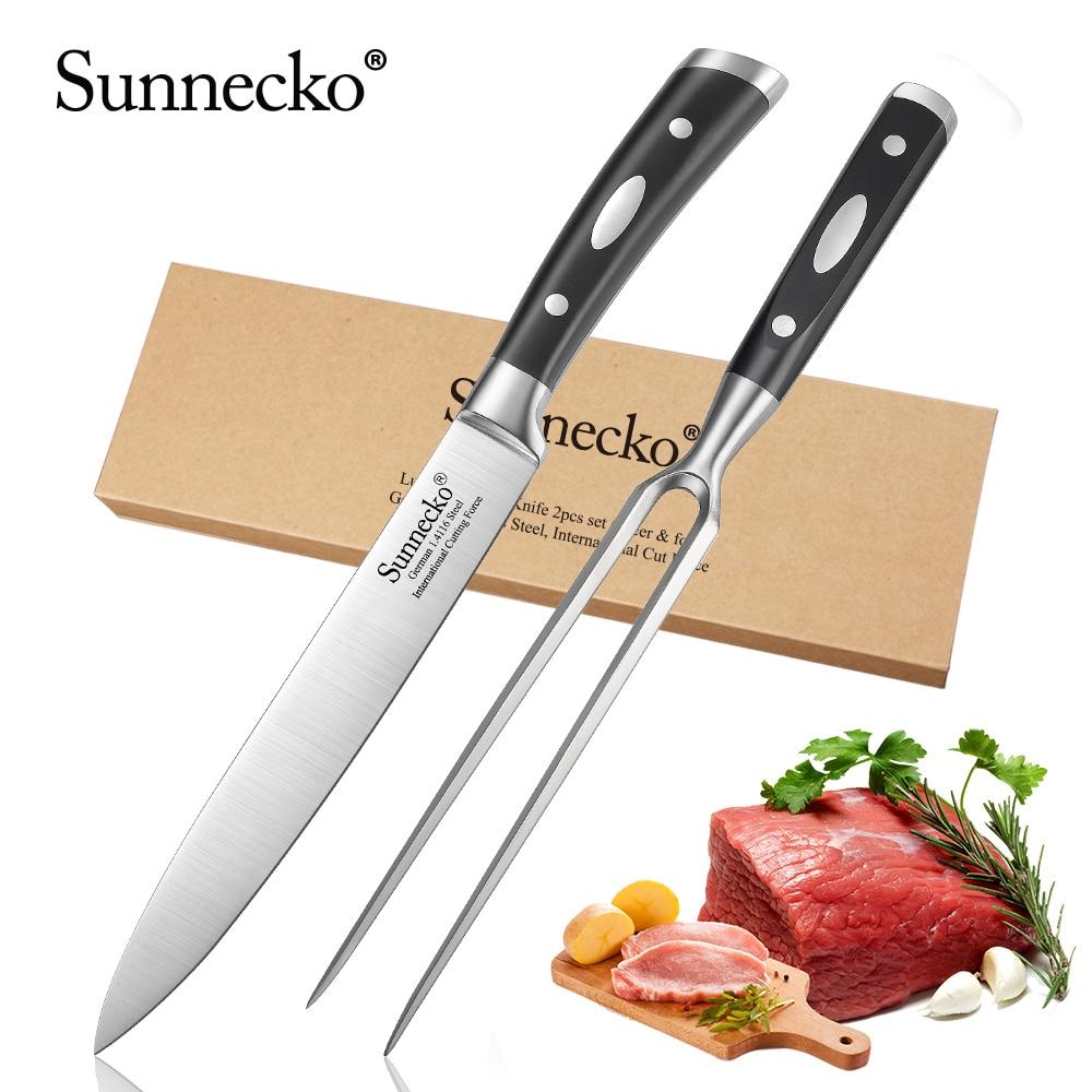 SUNNECKO 2PCS Kitchen Knives Set 8 Slicing Knife 7 Fork German 1 4116 Steel Blade Black
