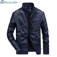 Grandwish Autumn Moto Vintage Mens Jackets Coat Motorcycle PU Leather Jacket Men Faux Leather Jacket Male