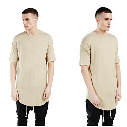 2015 New Fashion mens sand color extended t shirt round summer style long  tee oversized Kanye west shirts hiphop cool streetwear ab99eac2deb