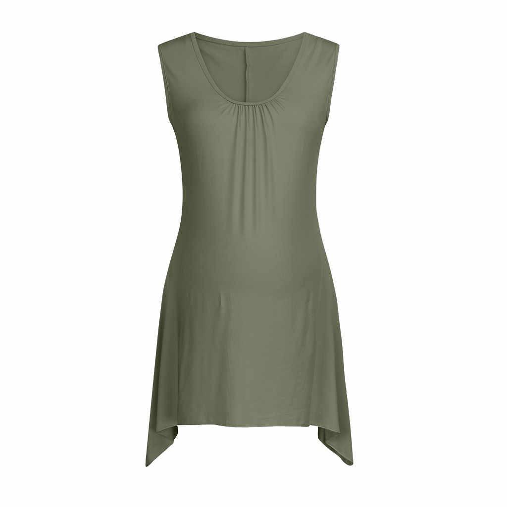 Thời trang nữ không tay màu áo Vest Bộ sơ sinh áo phụ nữ mang thai O-Cổ áo cotton mềm Áo Thun mùa hè Áo Top mới