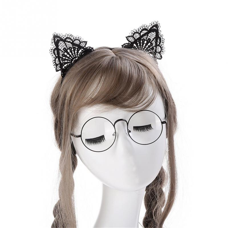 Women Hair Elastic Headbands Fashion Black Lace Cat Ears Headband Wedding Photography Portrait Style Hair Hoop Hair Accessories Apparel Accessories