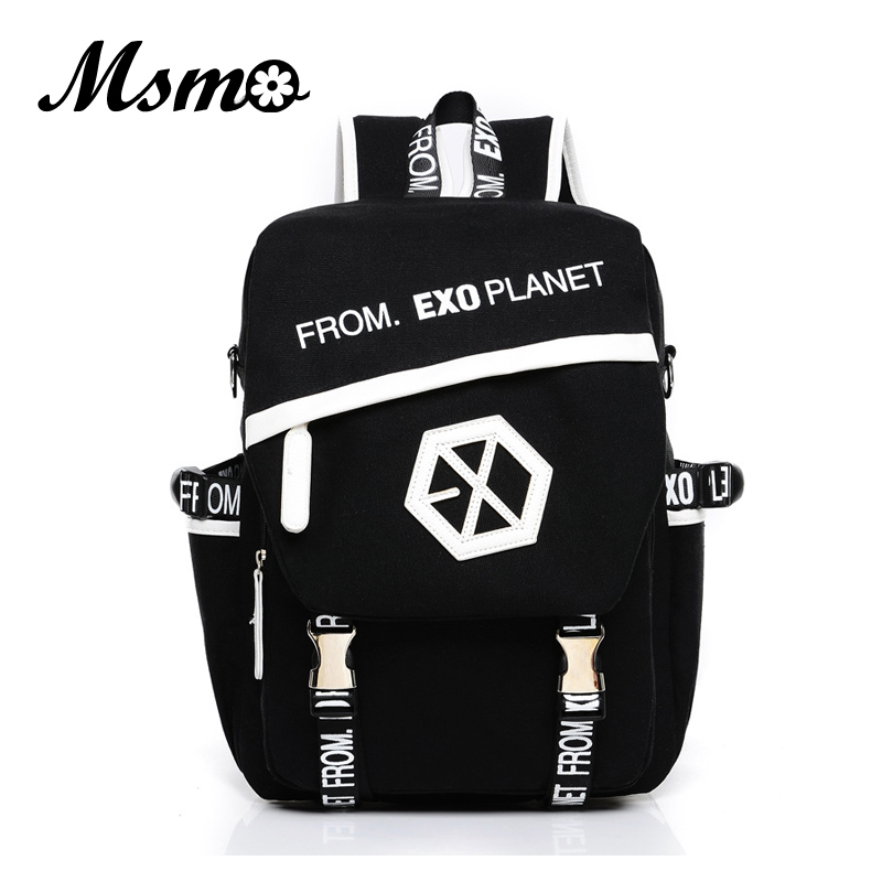 MSMO 2017 New Kpop EXO Canvas Backpack Sacks Women/Men Student School Bags For Girl boy Casual Travel EXO bags presale signed exo autographed 4th album the war cd signed poster kpop new korean version 072017
