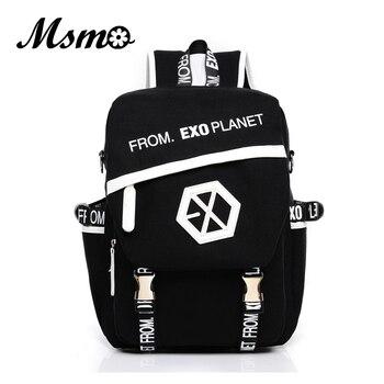 MSMO 2019 nowy Kpop EXO plecak na płótnie worki kobiety/mężczyźni uczeń torby szkolne dla dziewczyna chłopak na co dzień podróży EXO torby