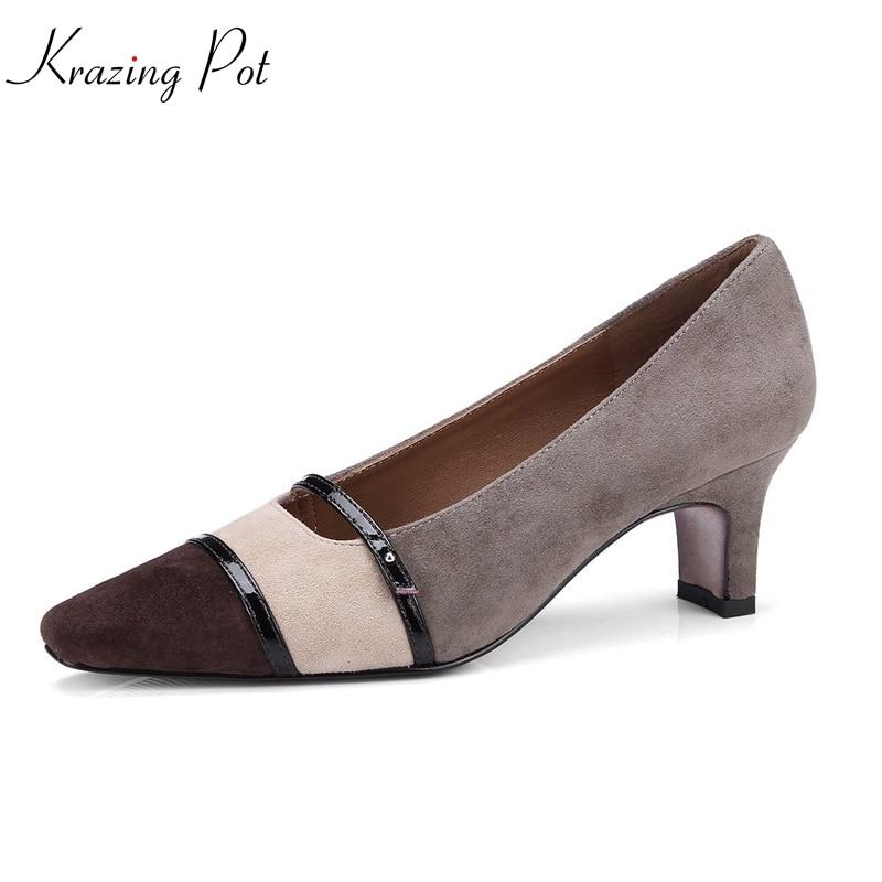 где купить Krazing pot 2018 new sheep suede brand shoes high heels slip on woman pumps pointed toe shallow party wedding spring shoes L93 по лучшей цене