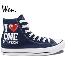 Wen Design Custom Hand Painted Shoes One Direction Union Jack Flag Men Women's High Top Canvas Sneakers Birthday Gifts
