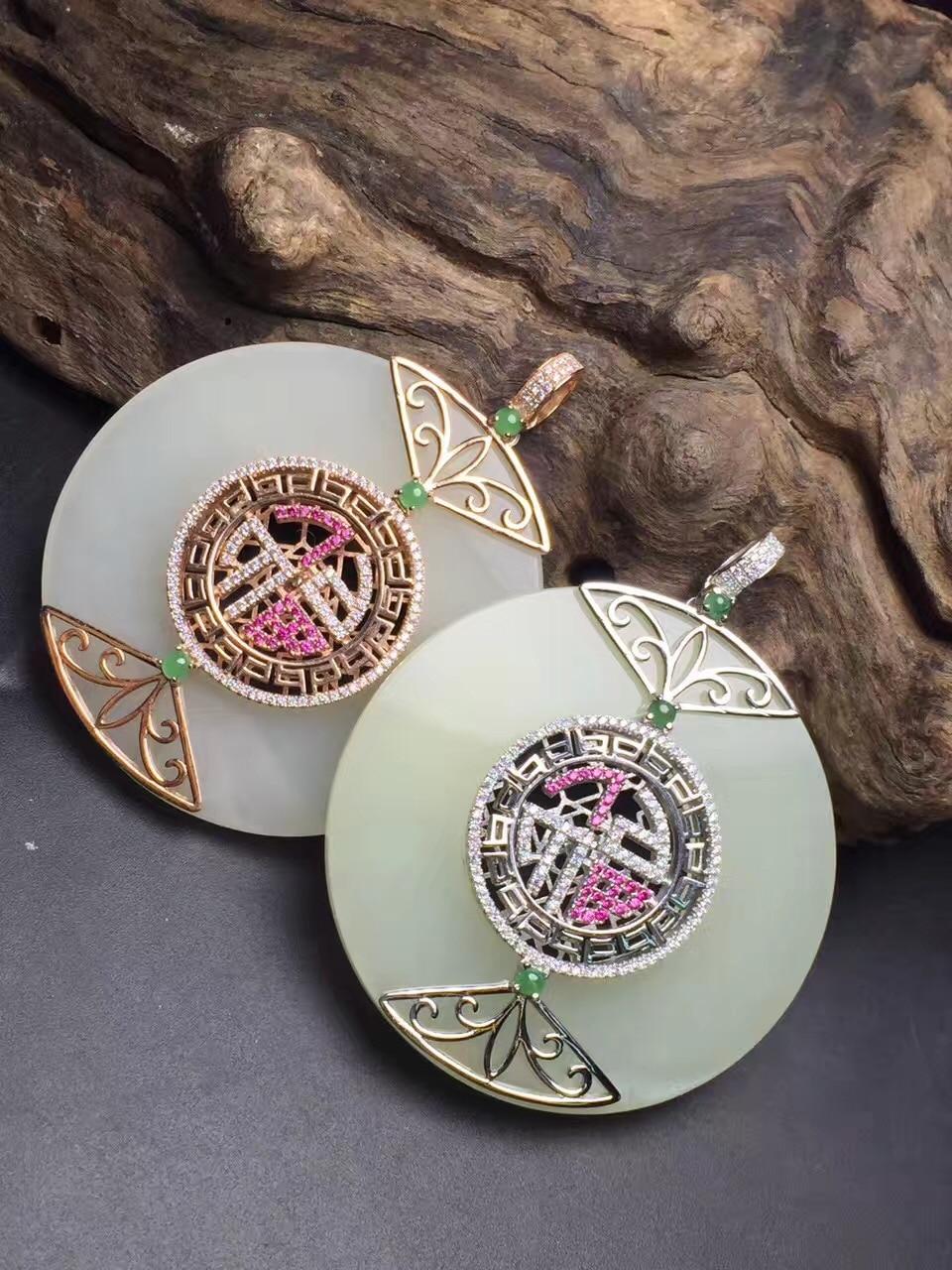 Fine Jewelry Real 925 Steling Silver s925 Myanmer Origin 100% Natural Jade Gemstone Female Pendant Necklaces Christmas Gift fine jewelry real 925 steling silver s925 100