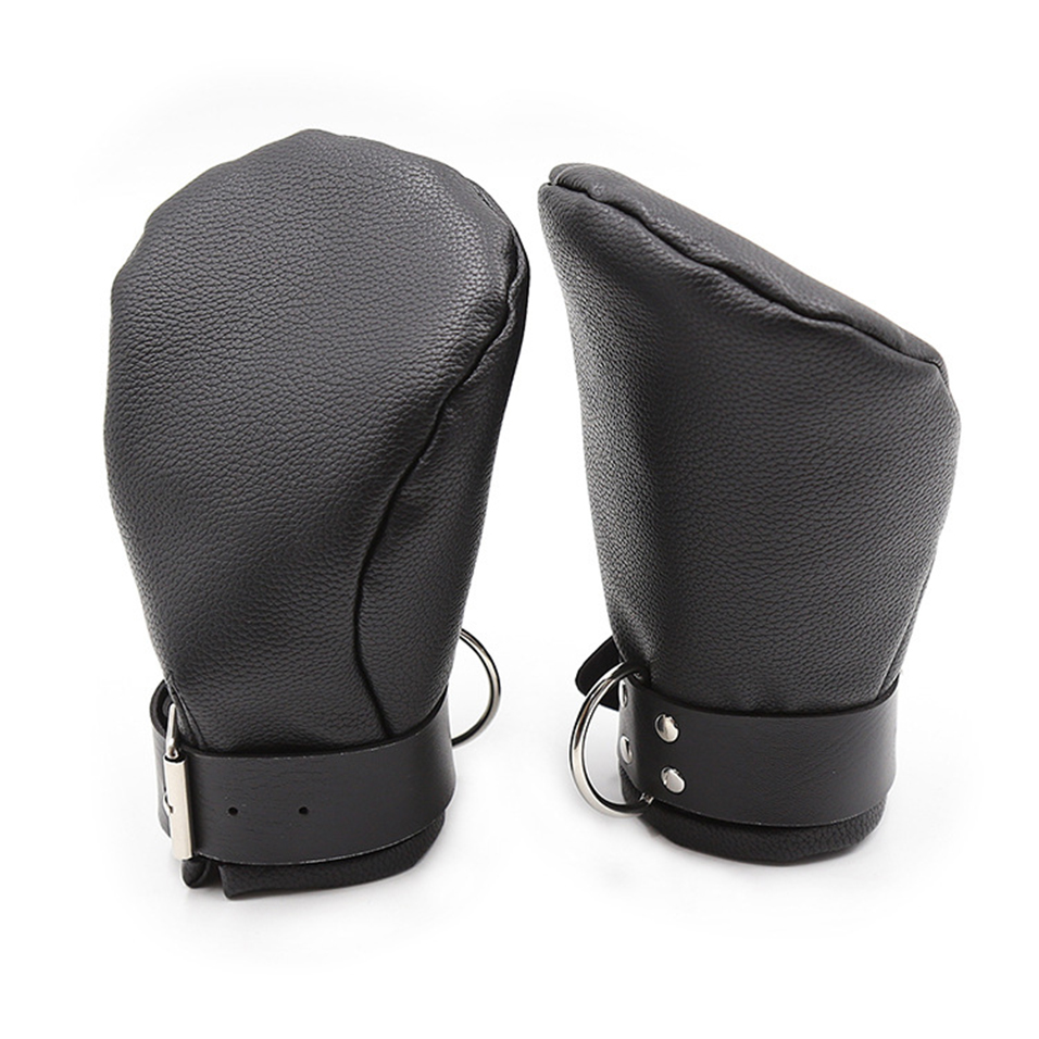 CamaTech PU Leather Padded Mittens Soft Puppy Mitts Hand Cuffs Bondage BDSM Dog Palm Fist Gloves Restraint Aduld Game For Couple