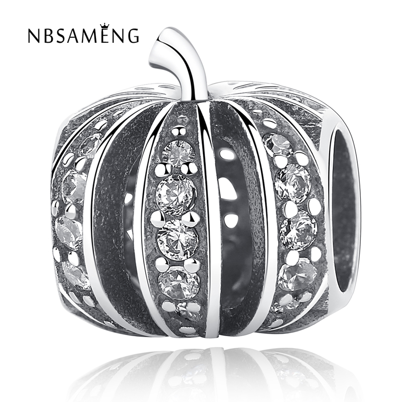 2017 Newest Halloween 925 Sterling Silver Bead Pumpkin With Crystal Beads Fit Original Pandora Charm BraceletsJewelry Gift