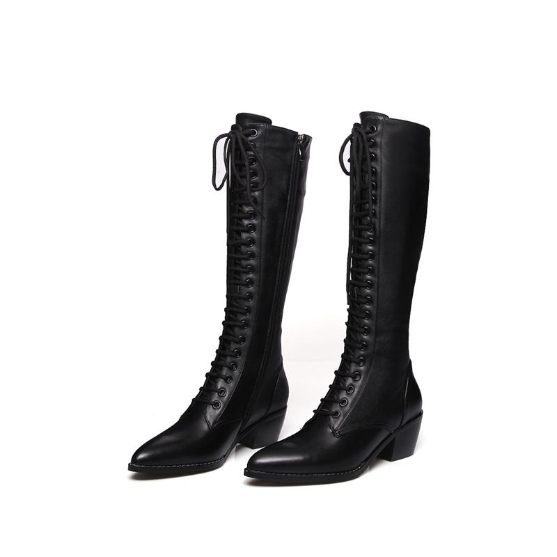 MORAZORA 2020 New genuine leather knee high boots women fashion lace up square high heels pointed toe winter snow boots female