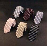 Narrow Mens Ties 100 Cotton Necktie Men Causal Stripe Tie For Man Bussines Corbatas Slim Neck