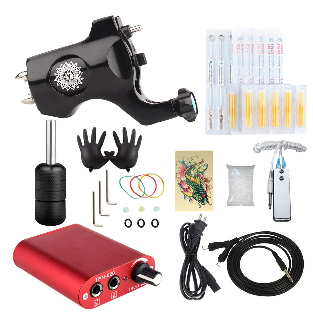 Professional Tattoo Rotary Guns Kit Liner And Shader Complete Tattoo Machine Ink Sets Starter Supply