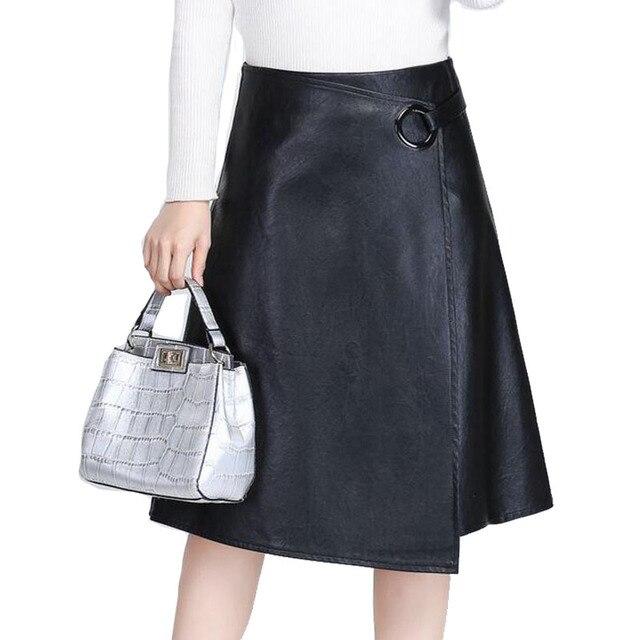 Hot Sale Women Soft PU Leather Skirt AHigh Waist Irregular Skirt Korean 2016 Vintage Split faux leather skirt Womens Big Size