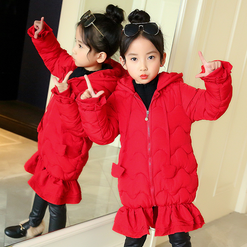 где купить Children Winter Outwear Clothing Yong Girls Winter Solid Color Cotton Coat Jacket With Bow-knot And Fashionable Fish Tail Hem дешево