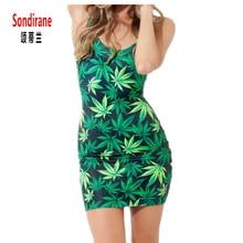 Sondirane Women Vest Dress 3D Print Hemp Leaves Graphic Sleeveless Dress Summer Pencil Skater Bodycon Slim Mini Sexy Dress Cheap