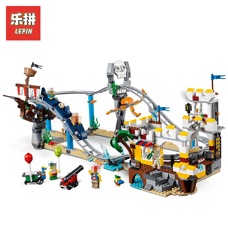 цена на Lepin 24051 Blocks Bricks Pirate Roller Coaster 3 in 1 Compatible legoingly 31084 Building Educational Toys Model Boys Gifts