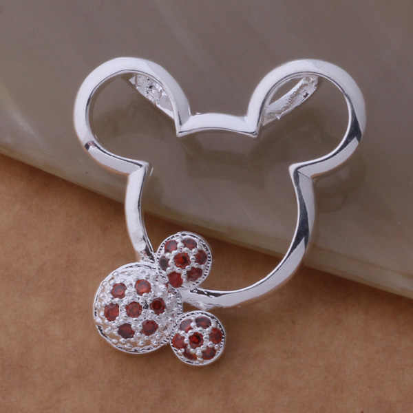 An673 colar esterlina quente moda jóias pingente mouse incrustado pedra roxa/hbvaptca bghajxoa cor prata