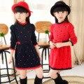 2017 новая коллекция весна марка девушки тонкий шерстяной вязать платье малышей с длинным рукавом платье детская одежда для девочки красный лук line платья 8 y