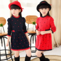 2017 new spring brand girls slim wool knit dress toddler long sleeve dress kids clothes for baby girl red bow a line dresses 8 y
