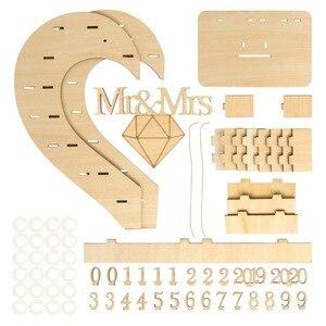 Image 2 - OurWarm DIY כפרי חתונה עץ הודעה לוח ממתק בעל כרטיס תיבת טבעת תיבת מתנות לאורחים המפלגה טובות חתונה קישוט