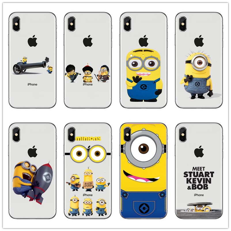 Cute Cartoon Funny Despicable Me <font><b>Yellow</b></font> Minion Soft silicone TPU <font><b>phone</b></font> <font><b>Case</b></font> Cover For <font><b>iPhone</b></font> 4 5 SE 6 7 8 Plus X Fundas coque image