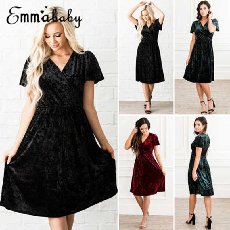 717c7beeb58 2018 Brand New Fashion Women Black Casual Short Sleeve Party Cocktail Red  Dress Solid Midi Dress