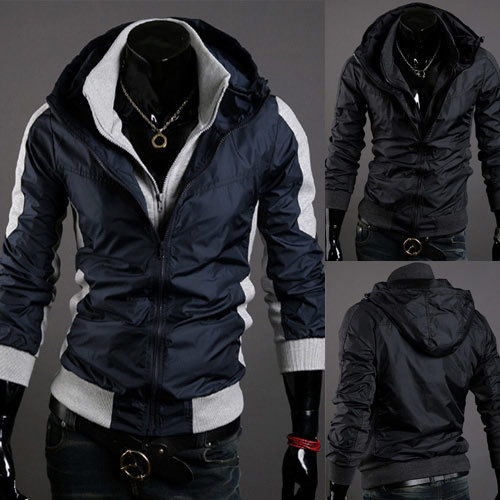 free shipping Fashion new arrival glossy silky faux two piece male jacket color block outerwear