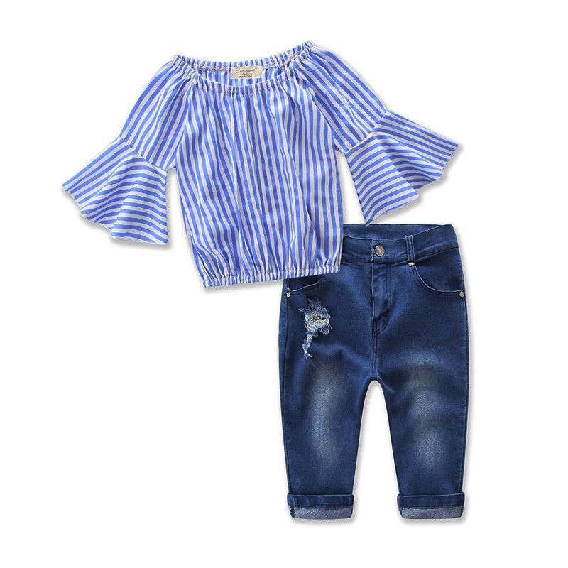 New Style Kids Baby Girl Clothes Off Shoulder Tops T-shirt+Denim Jeans Leggings Outfit Girls Clothing Set off shoulder tops t shirts denim pants hole jeans 3pcs outfits set clothing fashion baby kids girls clothes sets