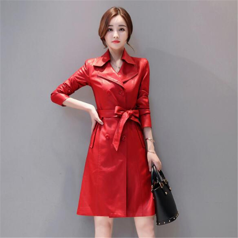 Stylish Korean version of slim train slim jacket slim slim BF windy long windbreaker   leather   jacket 2018