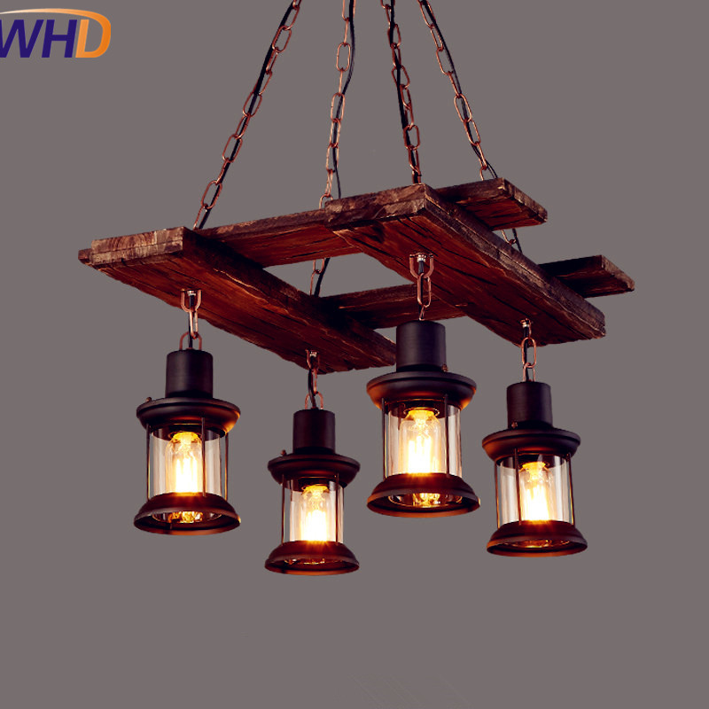 American Wooden Loft Style Vintage Industrial Pendant Lighting Fixtures Dinning Room LED Edison Pendant Lights Lamparas 2pcs american loft style retro lampe vintage lamp industrial pendant lighting fixtures dinning room bombilla edison lamparas