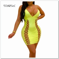 Women Sexy Spaghetti Strap Short Mini Dress Summer Yellow Sleeveless Deep V Criss Hollow Out Sheath Dress Bodycon Slim Clothing