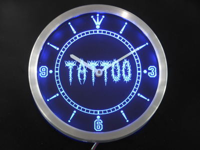 nc0292 Tattoo Shop Neon Sign LED Wall Clock