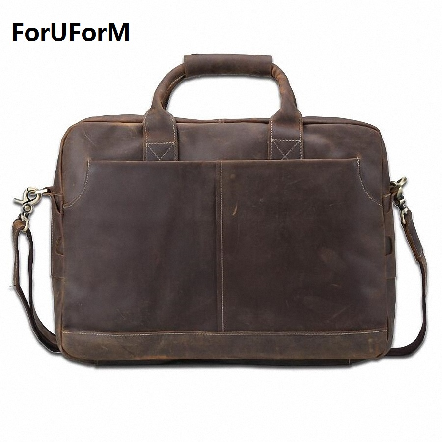 2017 Fashion Genuine Leather Men Briefcase Cowhide Men's Messenger Bags 15.6 Laptop Business Bag Luxury Lawyer Handbags LI-1832