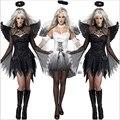 Сексуальная Хэллоуин для женщин Взрослый Вампир Ведьма Darl Белый Ангел Призрак Невесты Страшно Косплей Costume Fancy Dress Клубная Одежда Партии