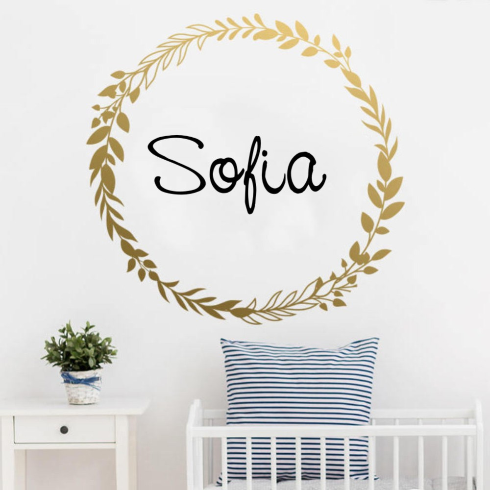Personalized Girls Name Wall Sticker Golden Garland Wall Decal Vinyl Art Wallpaper for Baby Kids Room Decoration ...