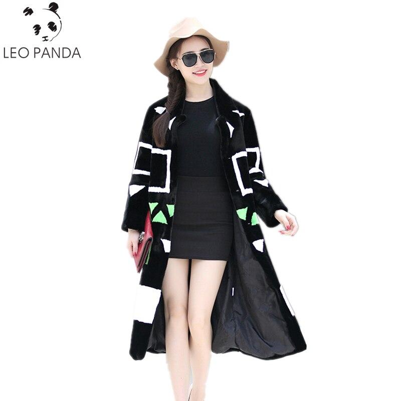 Manteau en fausse fourrure femmes 2018 nouveau hiver contraste couleur lâche élégant Long moelleux fausse fourrure pardessus grande taille Furry Outwear HF396