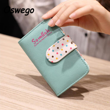 Candy Color PU Leather Card Holder Cards Package Bank Credit Cards Organizer Bag Dots Two-folded Hasp Women Cards Holder Bag