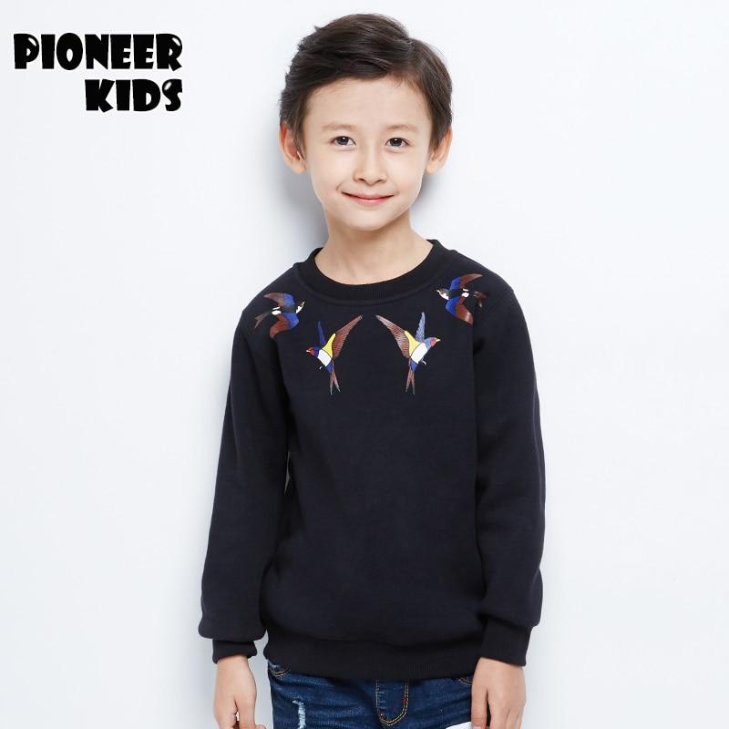 Pioneer Kids 2016 Newest boys cotton winter sweatershirts round collar animal print boys hoodie clothes thicken